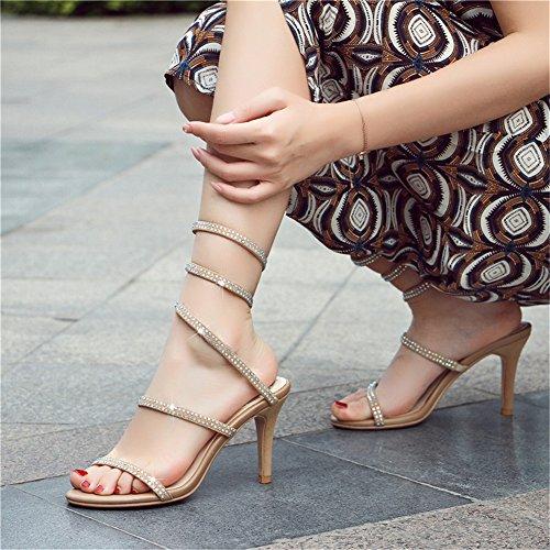 Da Slittamento Spillo Vestito Zpl A Avvolgimento Peep Strass Sulle Sandali Alti Beige Toe Donna Romani Partito Scarpe Tacchi Serpentina dYw4qxqR7