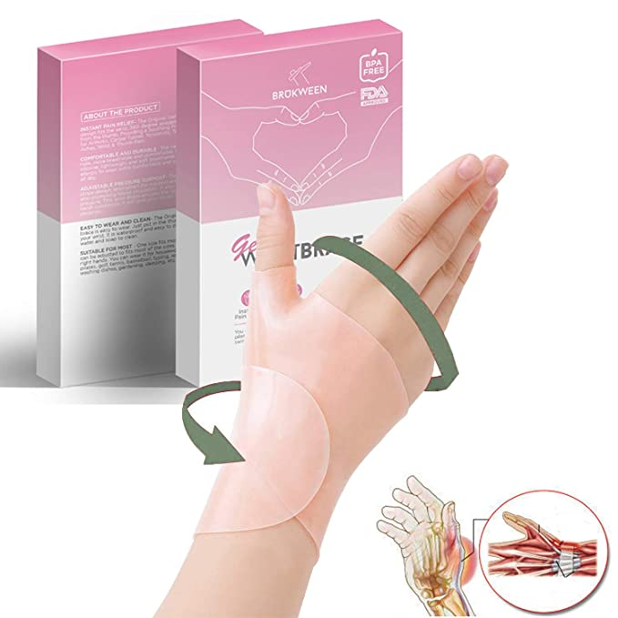 Gel Wrist Brace, Adjustable Elastic Self-Adhesive Pressure Support Relief Pain from Tenosynovitis, Arthritis, Rheumatism, Carpal Tunnel, Tendonitis, ...