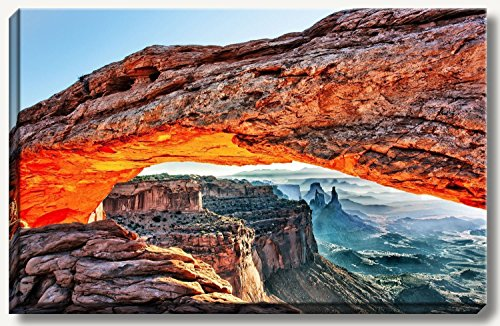Large gallery wrapped canvas fine art landscape photograph of Mesa Arch at sunrise at the beautiful Canyonlands National Park, Utah. Artwork sizes 16x24, 20x30, 24x36 and 32x48. by Bob Estrin Fine Art Photography