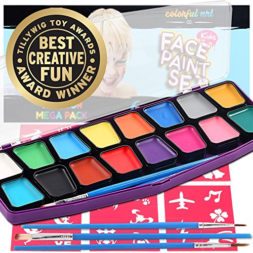 Award Winning Face Paint Kit for Kids | Professional MEGA16 Color Palette Best Face Painting Party Kits and...