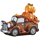 Collections Etc Lighted Truck with Pumpkins Hand Painted Décor - Fall Festive Tabletop Display