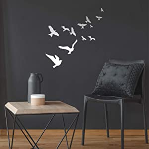 "Vinyl Wall Art Decal - Flying Birds - 23"" x 22"" - Trendy Modern Charming Doves Feathers Daydream Home Bedroom Apartment Workplace Living Room Office Dorm Room Work Decorations (23"" x 22"", White)"