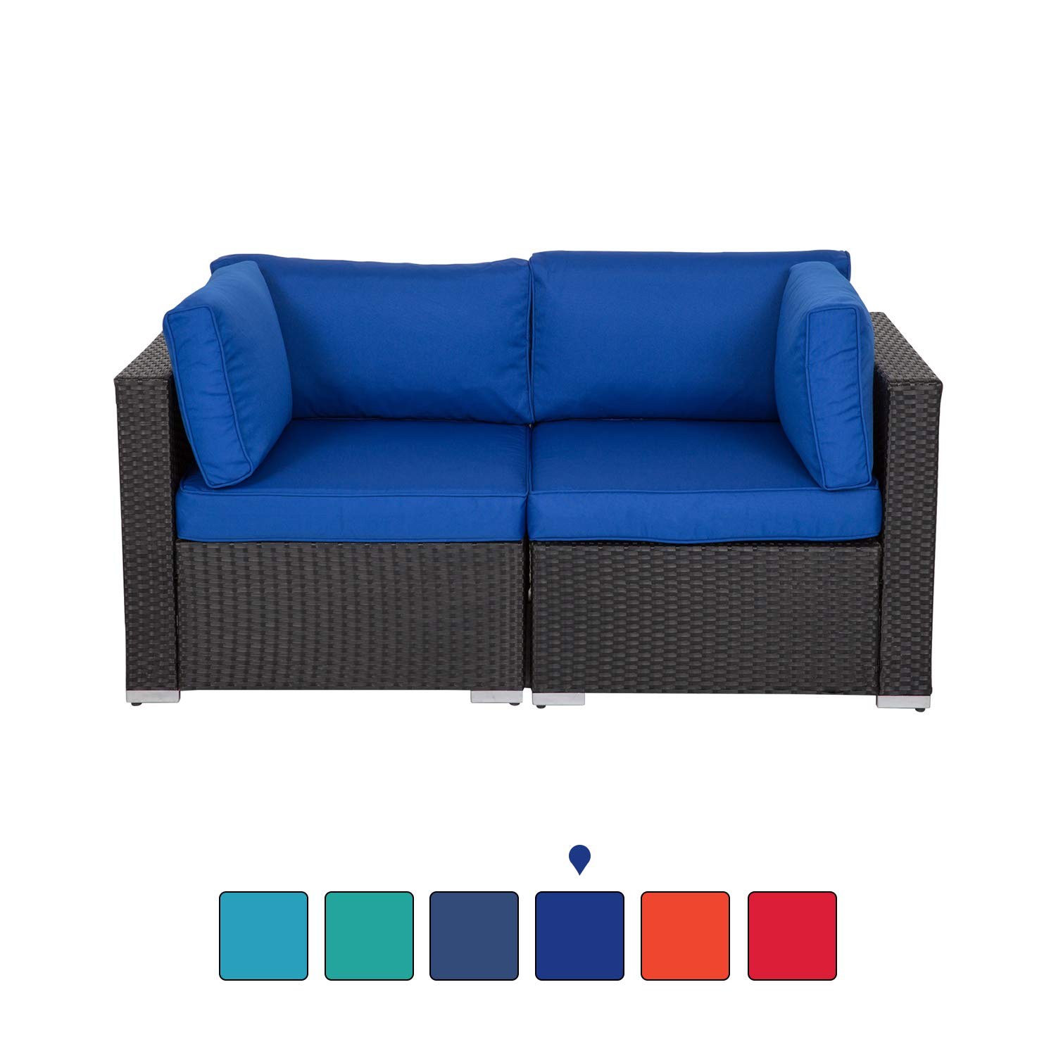 Peach Tree Wicker Loveseats Patio Sectional Corner Sofa All Weather Rattan Outdoor Thick Sofa Set by Kinsunny