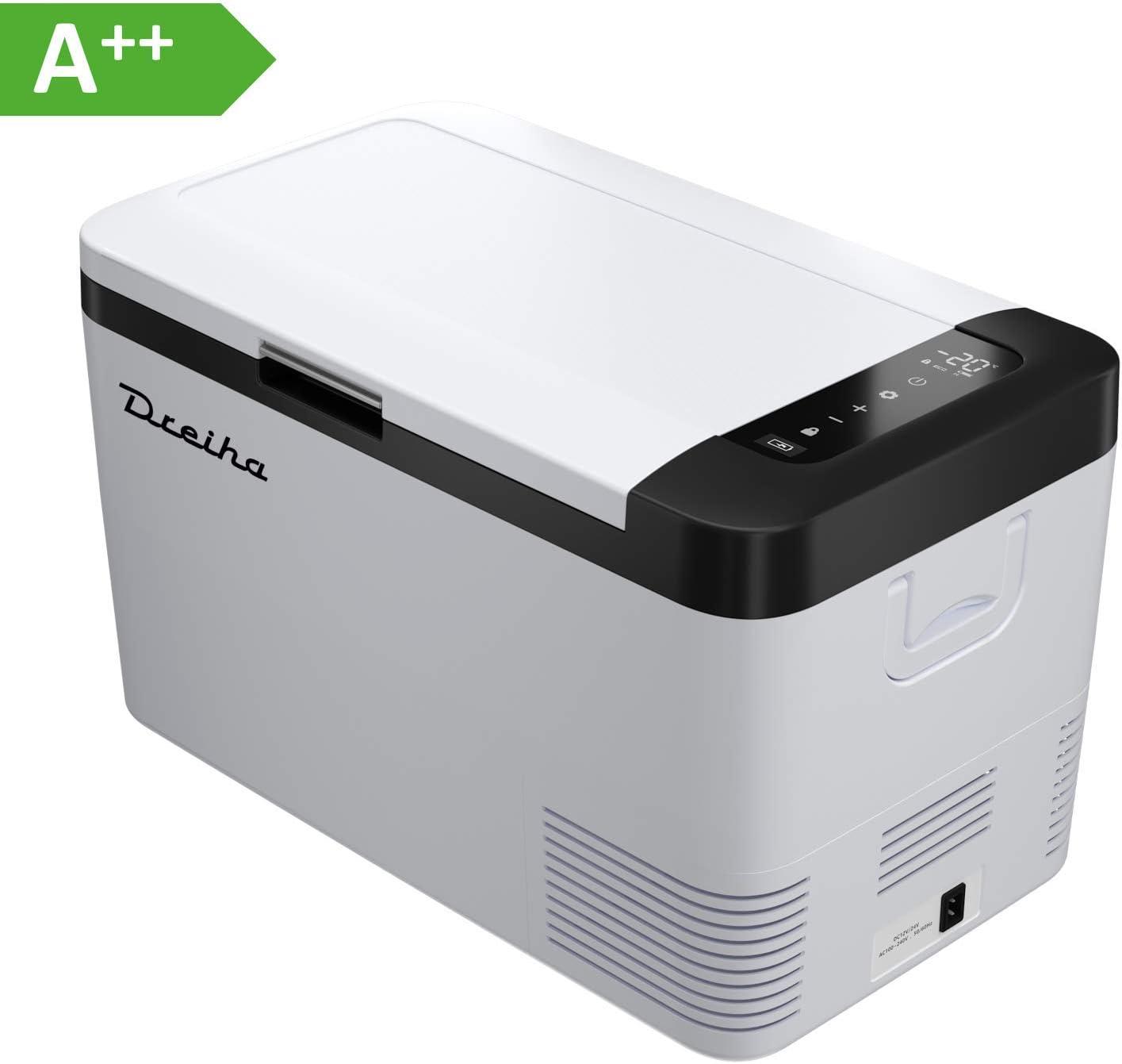 Dreiha CBX18- Nevera Portátil con Compresor CoolingBox 18 litros de Capacidad, Conexiones 12V / 24V 0 110V/ 220V, Enfriamiento de -20ºC a +20ºC