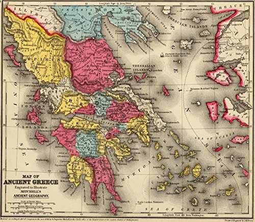 """Map Poster - Ancient Greece. - 24""""x21"""""""