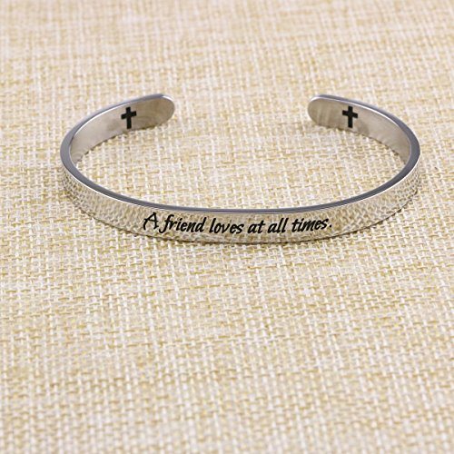 Yiyang Friendship Bracelets Chirstian Jewelry Positive Cuff Bangle Memorial Gift Proverb Engraved A Friend Loves at All Times by Yiyang (Image #2)