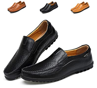 WaltZon Mens Loafers Leather Slip-On Moccasins Driving Shoes(WZ228Hole-Black39)
