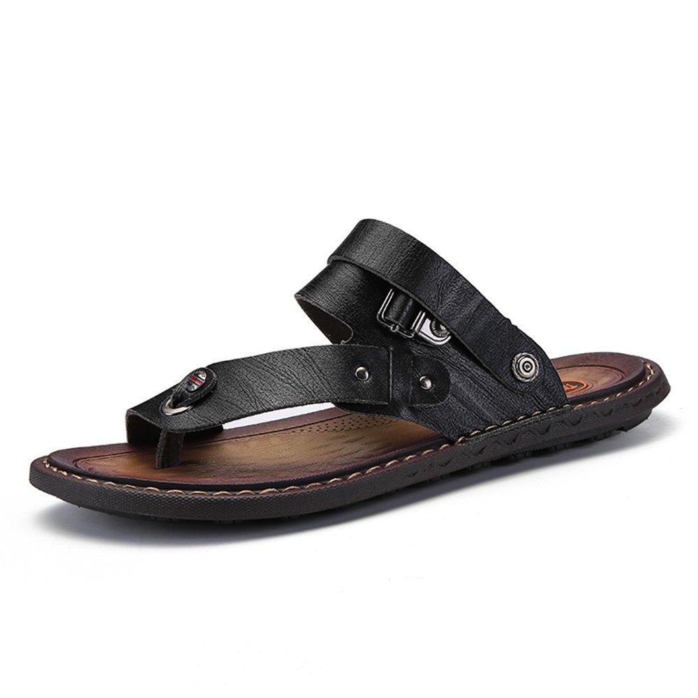 Sandalias de los Hombres Punta Abierta tacón Plano resbalón en los Zapatos de Moda 39 EU|Negro