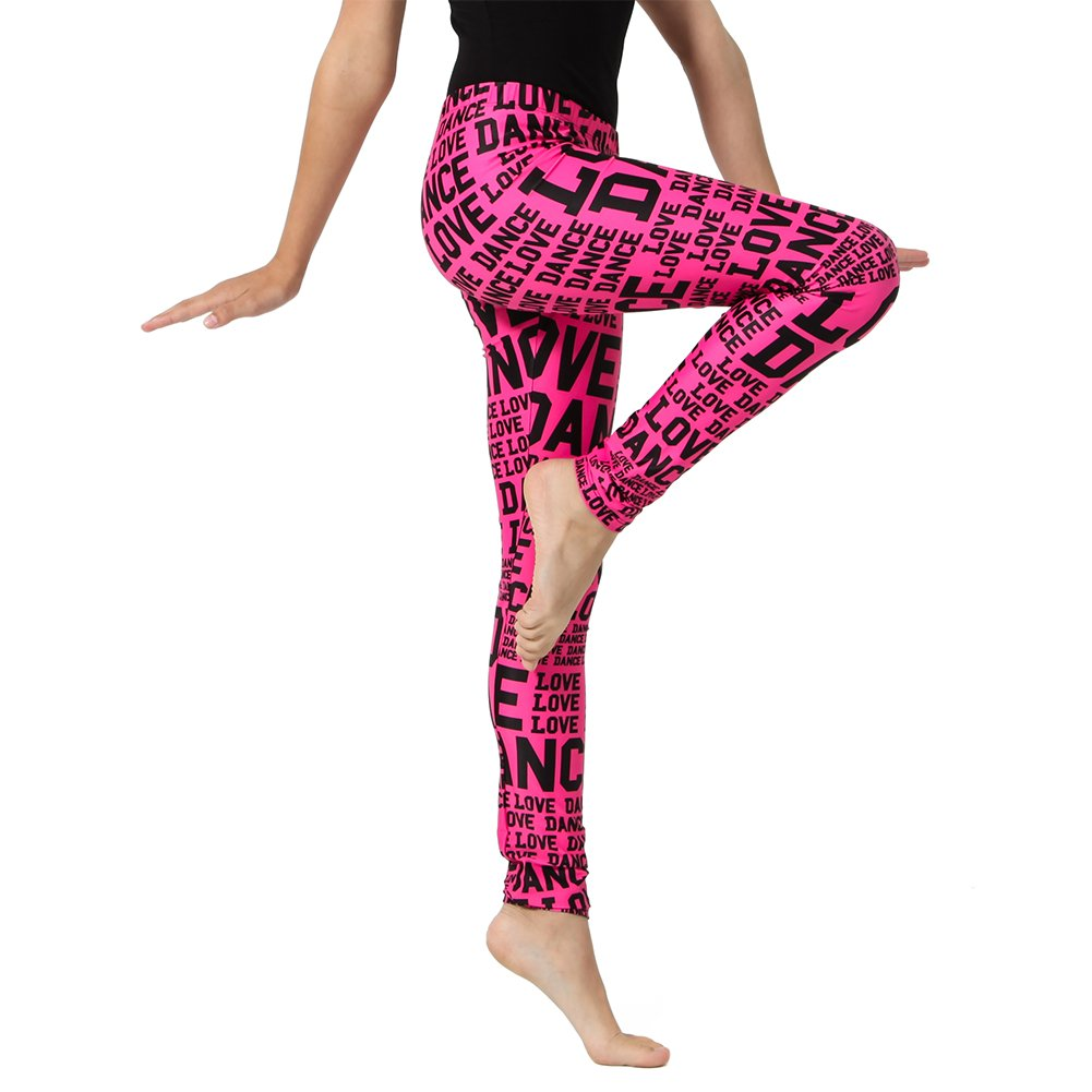 Alexandra Collection Youth Athletic Love Dance Leggings Pink/Black Small