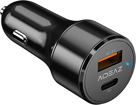 Compatible with iPhone XR//XS//XS Max AIDEAZ Car Charger Compatible with Samsung and other Mobile Phones /& Tablets 48W 2 Port USB Car Adapter Chargers with Power Delivery 30W /& Quick Charge 3.0 18W