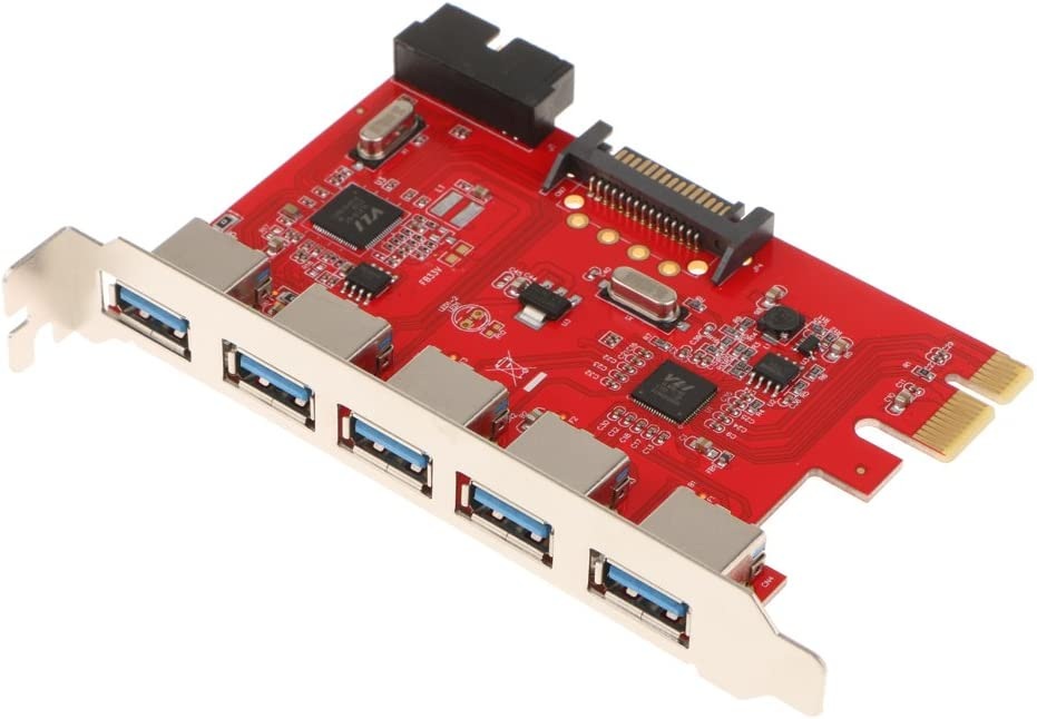 PCI-E to USB 3.0 5-Port PCI Express Expansion Card with 20 Pin for Desktop
