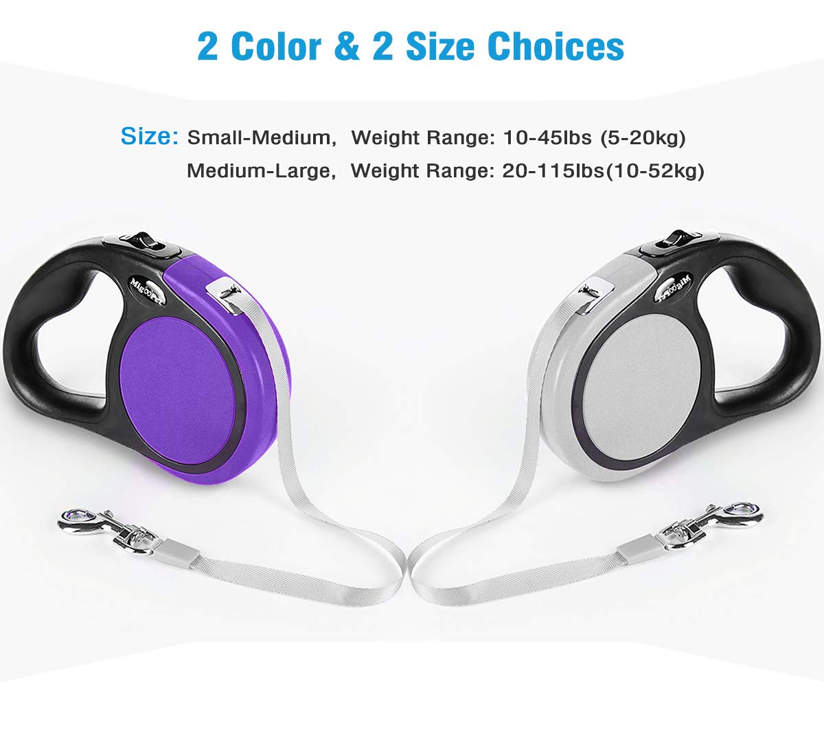 Heavy Duty Retractable Dog Leash-16ft/5m Walking Leash-Strong Retractable Leashes for Medium to Large Dogs up to 115 lbs, Upgraded One Button Lock System, Non Slip Rubbery Grip, Tangle Free Pet Leash
