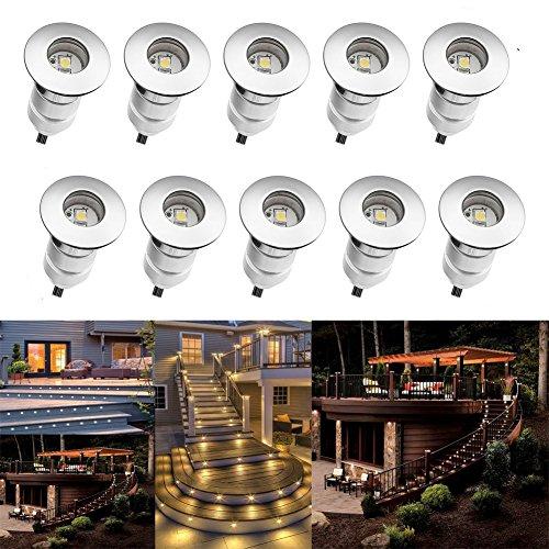 fvtled Juego de 10 mini lámpara LED empotrable en suelo IP67 ø24 mm 0.6 W DC12 V Escaleras Foco exterior lámpara LED empotrable suelo Leuchten Garden Path: ...