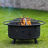 Kinbor 30-Inch Portable Wood Burning Iron Backyard Patio Garden Fire Pit with Cooking Grill, Spark Screen and Free Waterproof PVC Cover