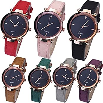 Yunanwa 7 Pack Womens Watches Relojes Mujer Dress Ladies Business Butterfly Quartz Leather Wrist Watch Girl