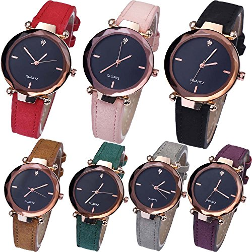 (Yunanwa 7 Pack Women's Watches Relojes Mujer Dress Ladies Business Butterfly Quartz Leather Wrist Watch Girl Feminino Montre Femme Wholesale Luxury Diamond (7pcs-D0910))