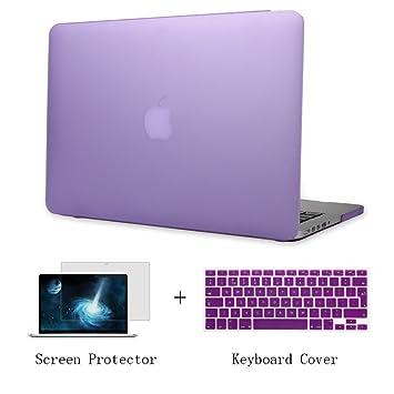 Batianda Plástico Funda Dura Carcasa para MacBook Pro 13 Retina & Cubierta del Teclado & Protector de Pantalla,Púrpura
