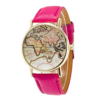 Unisexuhr Einfach Analog Quarz Armbanduhr Landkarte Mit Leder