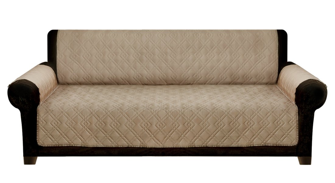 Leader Accessories Pongee 3-Seat Sofa Seat Cover for Dogs Kids Pet Home Furniture Couch Protector - Tan - Machine Washable 69''x69''