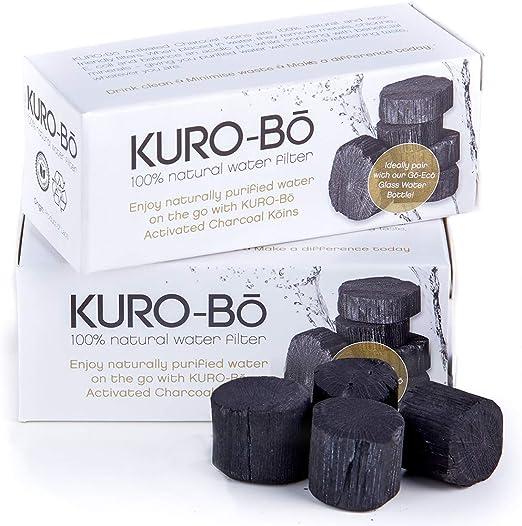 KURO-Bō Binchotan Charcoal Water Filter Koins for Water Bottle up to 1 Litre 1 Pack