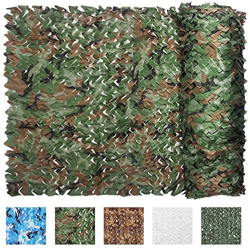 IUNIO Camouflage Netting, 16.4ft x 5ft/5m x 1.5m Custom Woodland Camo Net Great For Sunshade Camping Shooting Hunting etc.