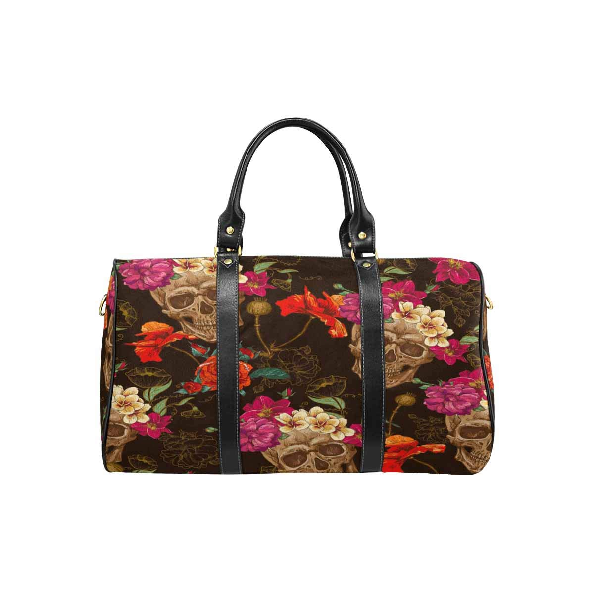 InterestPrint Weekender Bag Overnight Carry-on Tote Duffel Bag Skull and Flowers