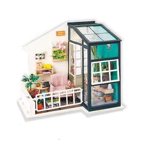 Amazon Com Miniature Dollhouse Kits Diy Wooden House Little Balcony