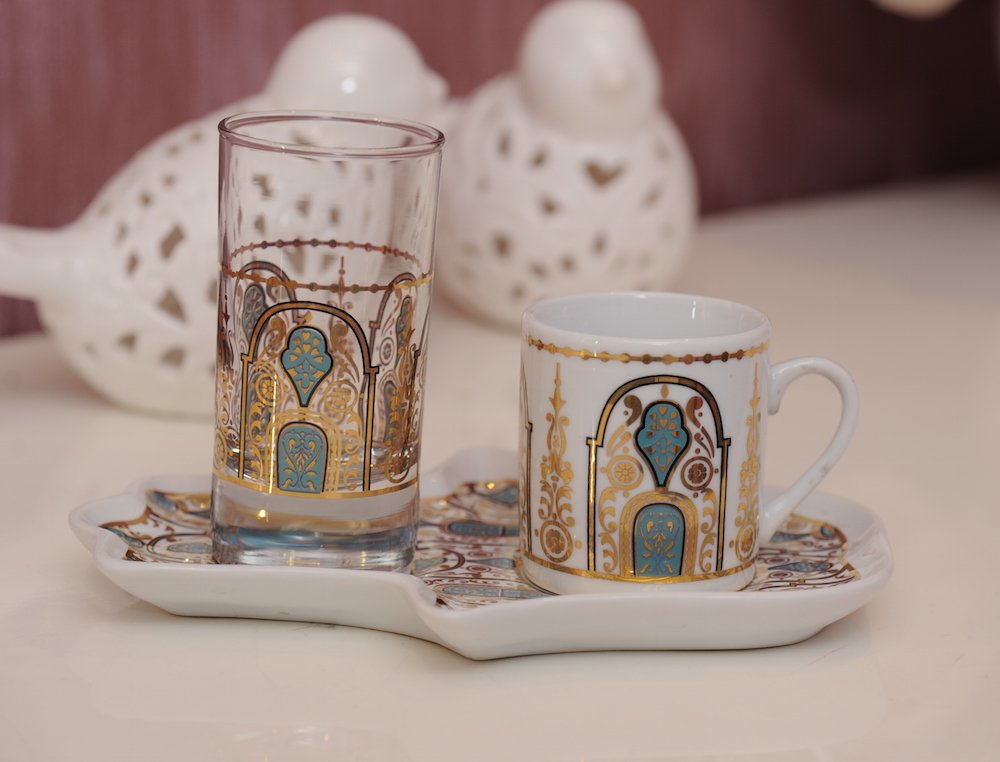 Decorated Turkish Greek Arabic Coffee Espresso Serving Set for 1 with Demitasse Cup Glass & Tray (Hagia Sophia)