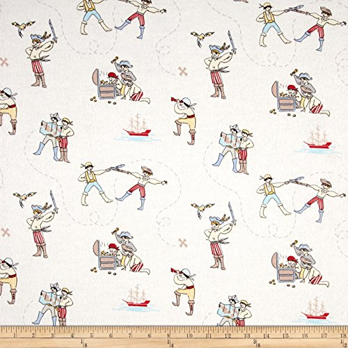 Michael Miller Flannel Fabric - Michael Miller Flannel Sarah Jane Out to Sea A Pirate's Life Soft White Fabric by The Yard