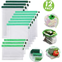 SENQIAO Premium Reusable Mesh Produce Bags, See-Through, Eco Friendly Recyclable Packaging Bags with Drawstrings for Grocery Shopping and Snack Bags, Large, Medium, Small, Set of 12 (New Version)