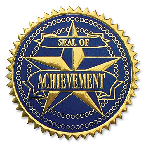 Deluxe Embossed Achievement Gold/Blue Foil Certificate Seals, 2 Inch, Self Adhesive, 102 ()