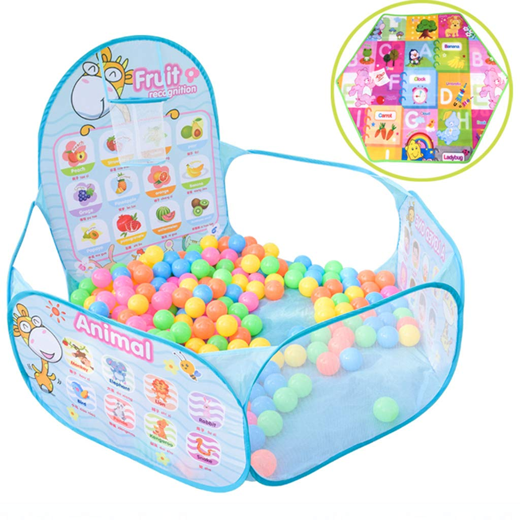 Playpens Baby Fence Kids Ball Pit, Indoor Outdoor Play Tent Pool with Basketball Hoop Zippered Storage Bag Household Shatter Resistant Toys