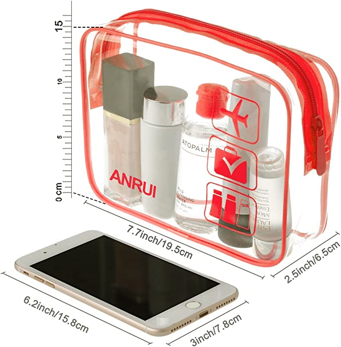ANRUI Clear Toiletry Bag TSA Approved Travel Carry On Airport Airline Compliant Bag Quart Sized 311 Kit Travel Luggage Pouch 3 Pack