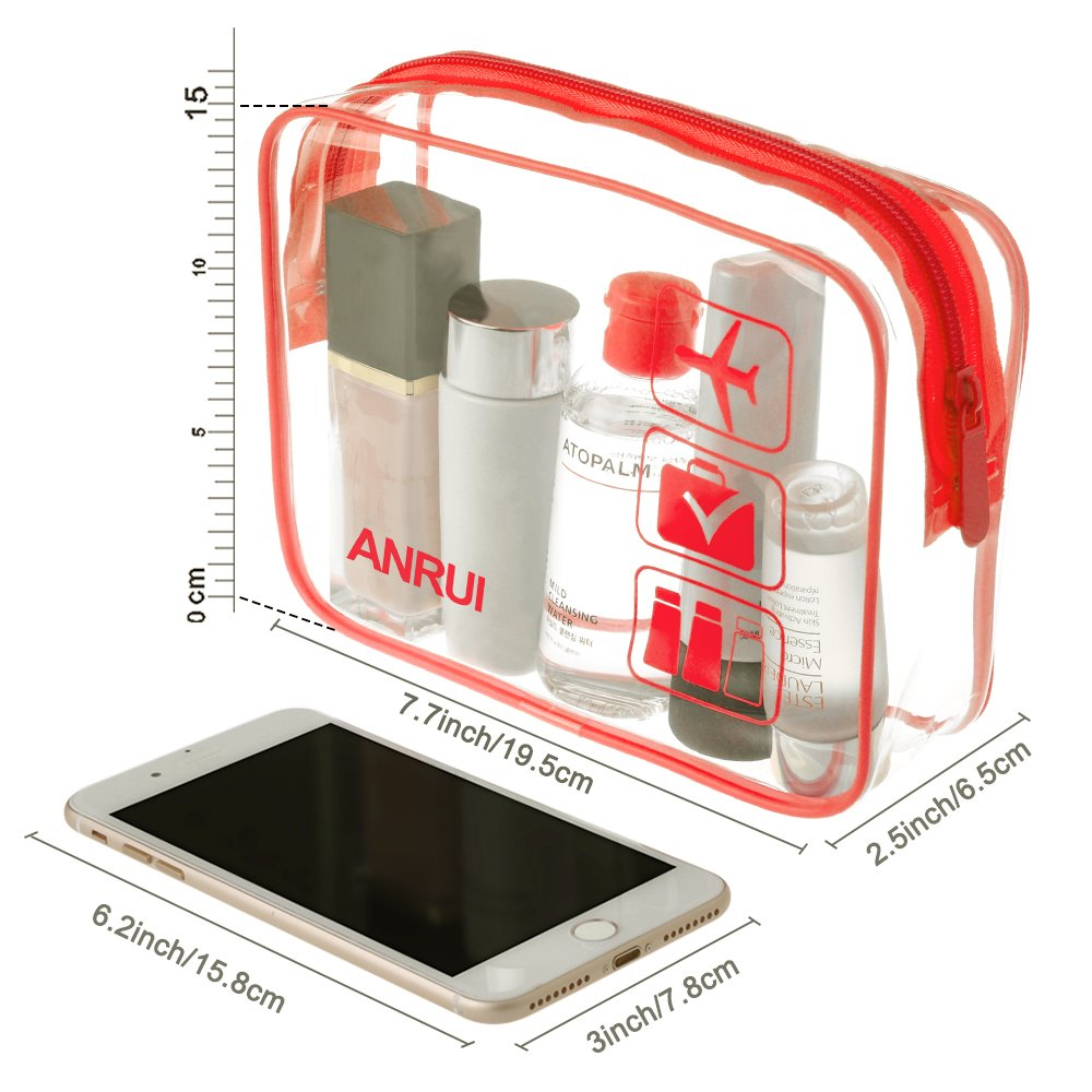 ANRUI Clear Toiletry Bag TSA Approved Travel Carry On Airport Airline Compliant Bag Quart Sized 311