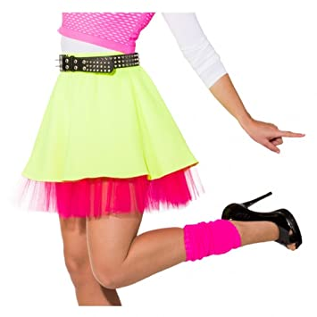 8764fd275d79b Rock neongelb/pink mit Petticoat 80er 90er Jahre Kostüme neon Rock (34/36)