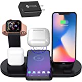 Qi ワイヤレス充電器 3 in1 iphone Apple Watch AirPods Pro 充電 スタンド 多機能 携帯電話ホルダー ワイヤレス充電ドッグ Android/iPhone 11 11 Pro XS max 8 plus 7 6 /Apple Watch 5 4 3 2 1/Airpods充電器 その他Qi対応機種も適用