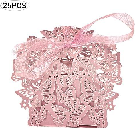 EisEyen scatolina Bomboniera con Nastri 25 pz Scatole portaconfetti Shabby scatolina per Confetti Caramelle Battesimo Matrimonio Compleanno