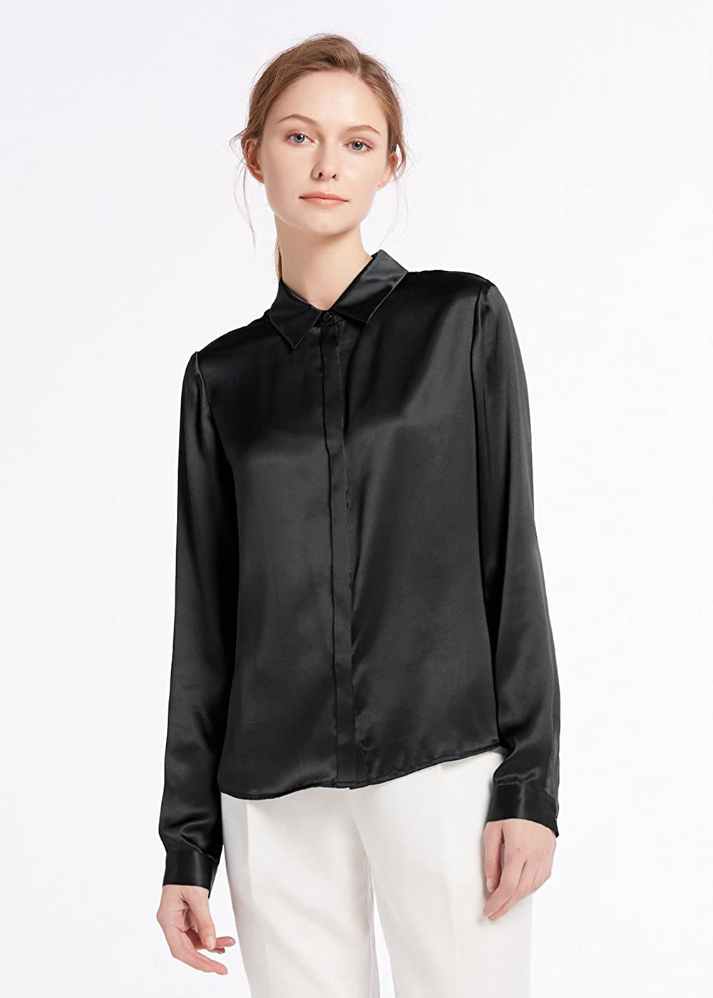 Lilysilk Womens 100 Silk Blouse Long Sleeve Lady Shirt 22 Momme Extra Big Size Mysty Black Zip Hoodie Fit 6l Pure Charmeuse At Amazon Clothing Store