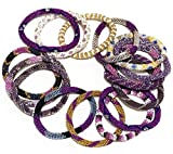 WigsPedia Handmade Crochet Glass Seed Bead Nepal Roll on Boho Bracelet - Wholesale Purple Scheme (6 Pieces Nepal Bracelets)