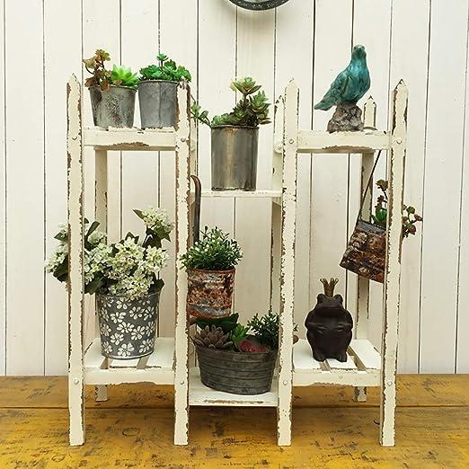 Estantes para plantas / estanteria jardin Soporte de flor Estante de flor de madera Soporte de exhibición de la flor de la planta de múltiples capas Vintage estilo antiguo estanterias de jardin: