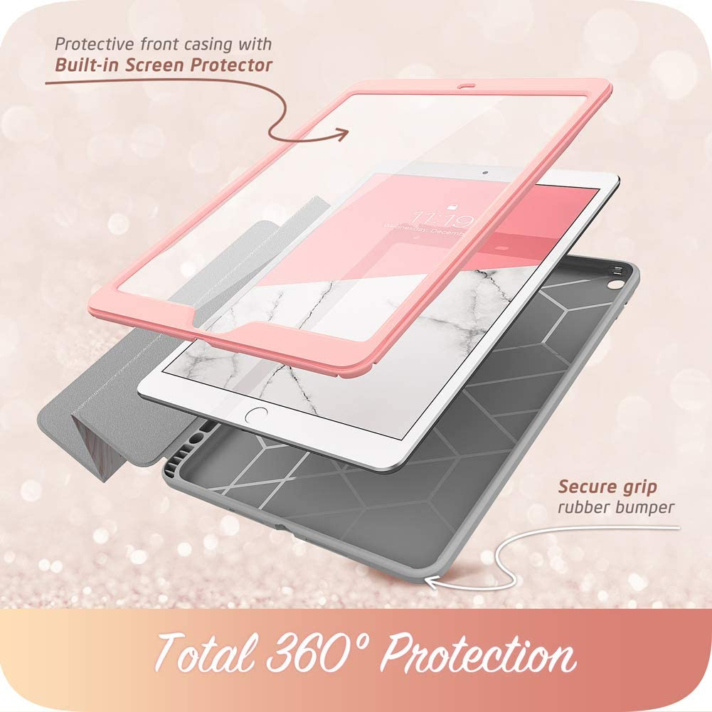 i-Blason Cosmo Case for New iPad 8th/7th Generation, iPad 10.2 2020 2019 Case, Full-Body Trifold with Built-in Screen Protector Protective Smart Cover with Auto Sleep/Wake & Pencil Holder (Marble)