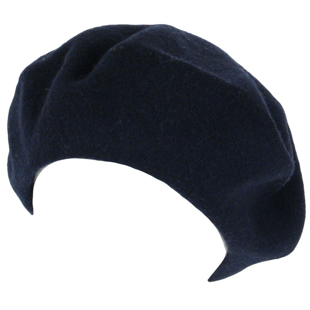 WOOL FRENCH BERET TAM BEANIE SLOUCH HAT CAP, Navy TOP HEADWEAR