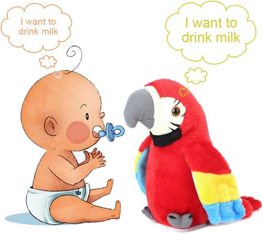 Hztyyier Juguete Loro Loro Parlante con Dibujos Animados Lindo grabación Juguete Educativo de Felpa eléctrica de educación temprana para el bebé Repite lo Que Dices(Rojo)