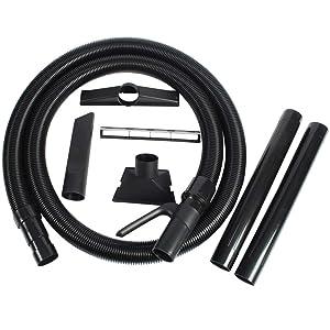 "Cen-Tec Systems 94335 2.25"" Diameter 10 foot Commercial Grade Shop Vacuum Hose with Wet/Dry Attachment Set, Ft, Black"