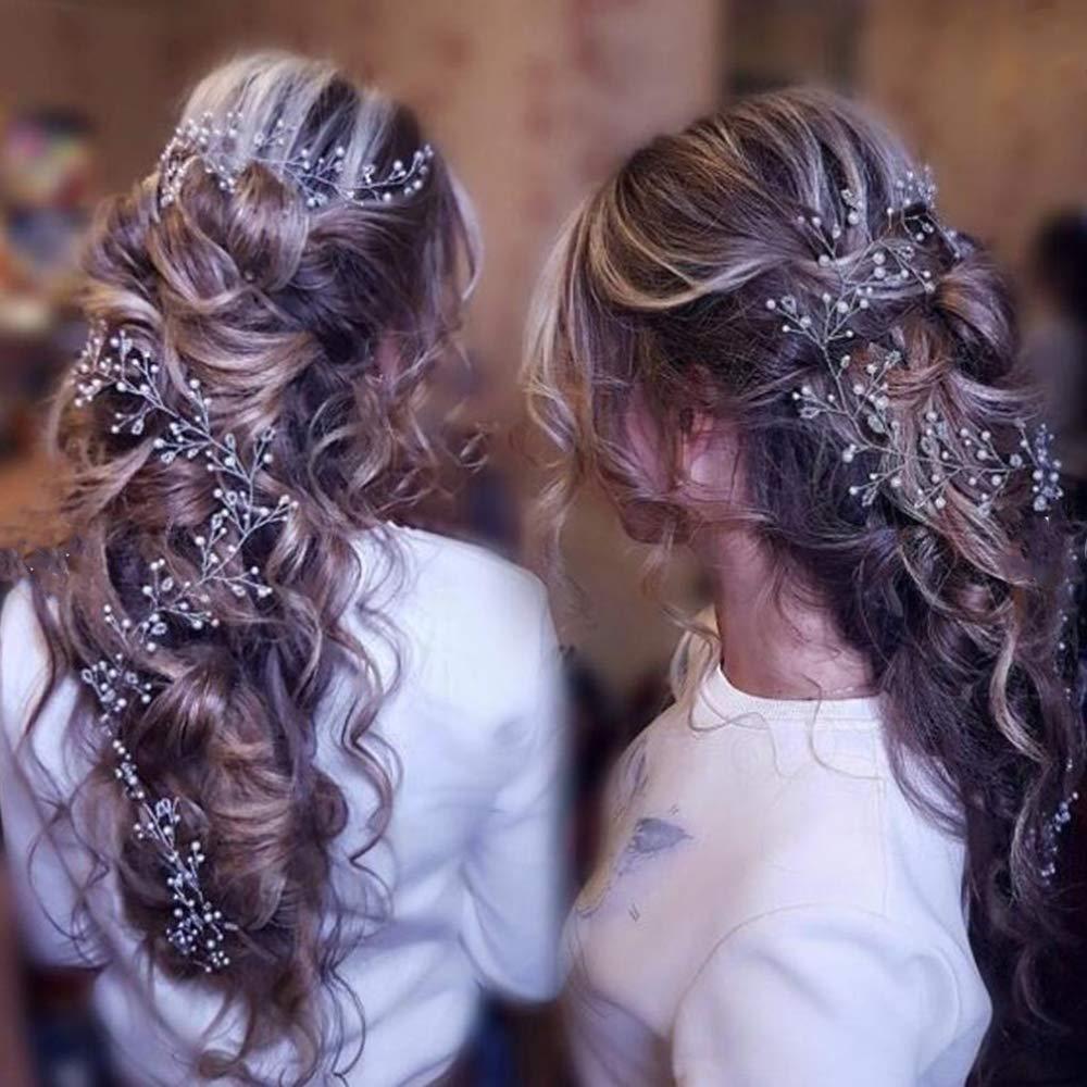 Chargances Bandeau floral dor/é avec perles pour mari/ée Dor/é