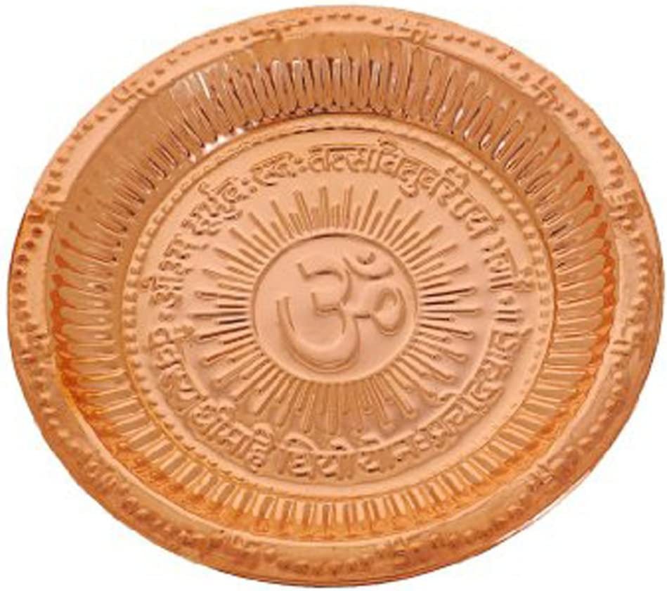 Craft Art India Copper Thali/Plate for Pooja/Puja/Worship {CAI-HD-0348/Size(Inch) : 2x11x11}