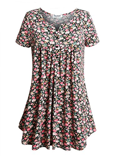 Anna Smith Ladies Henley Short Sleeve, Contemporary Clothing Daily Wear Nice Overall Lines Flower Printed Ladies Tunic Tops Peplum Active V Collar Cotton Pullover with Pleated Black XL (Smith Cotton Overalls)