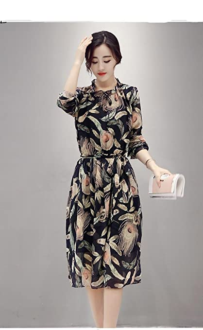 e072b8c56ae2 Amazon Com Modern Floral Print Skirt Dress In Korean Long Sleeve