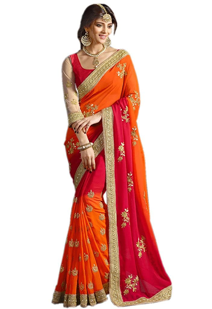 Try n Get's Orange and Red Color Georgette Designer Saree Triveni Sarees