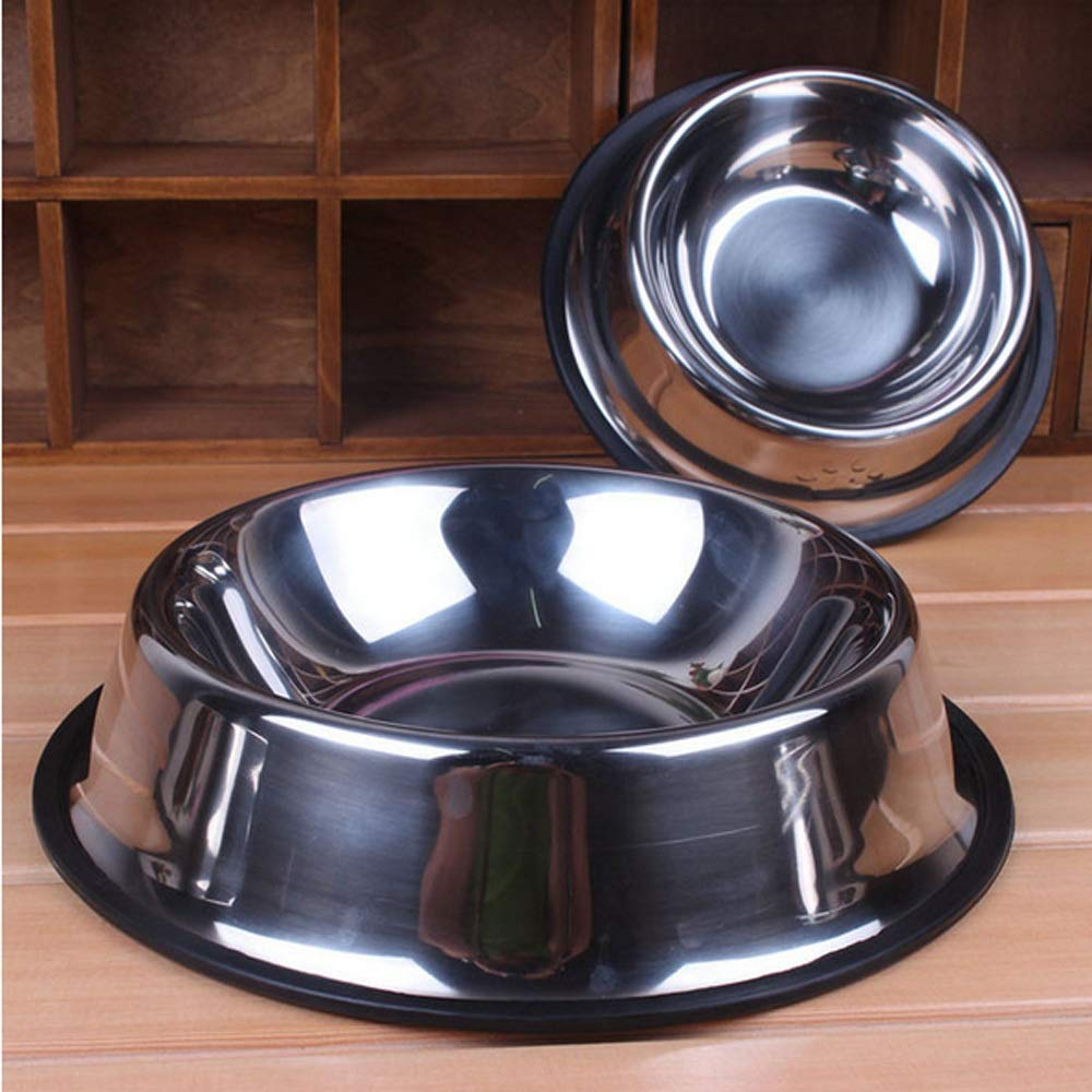 19.5cm Dog Bowl, Stainless Steel, Medium and Small Dog Rubber Base, Pet Feeding Bowl and Water Bowl Perfect Choice (2 Sets) Interesting Feeding Device, Perfect for Pet Feeding Bowl and Water Bow